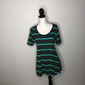 LuluRoe shirt gray & green stripes. Size S